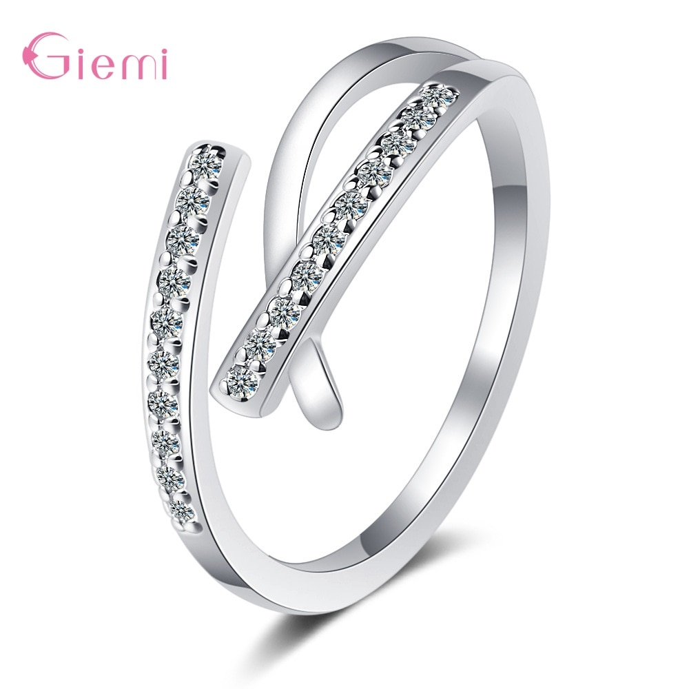 flyleaf 925 sterling silver rings for women cubic zirconia rotate creative fashion open ring femme fine jewelry wedding gift Simple Style Genuine 925 Sterling Silver Ring Open Adjustable Finger Rings For Women Fine Wedding Finger Ring Fashion Jewelry