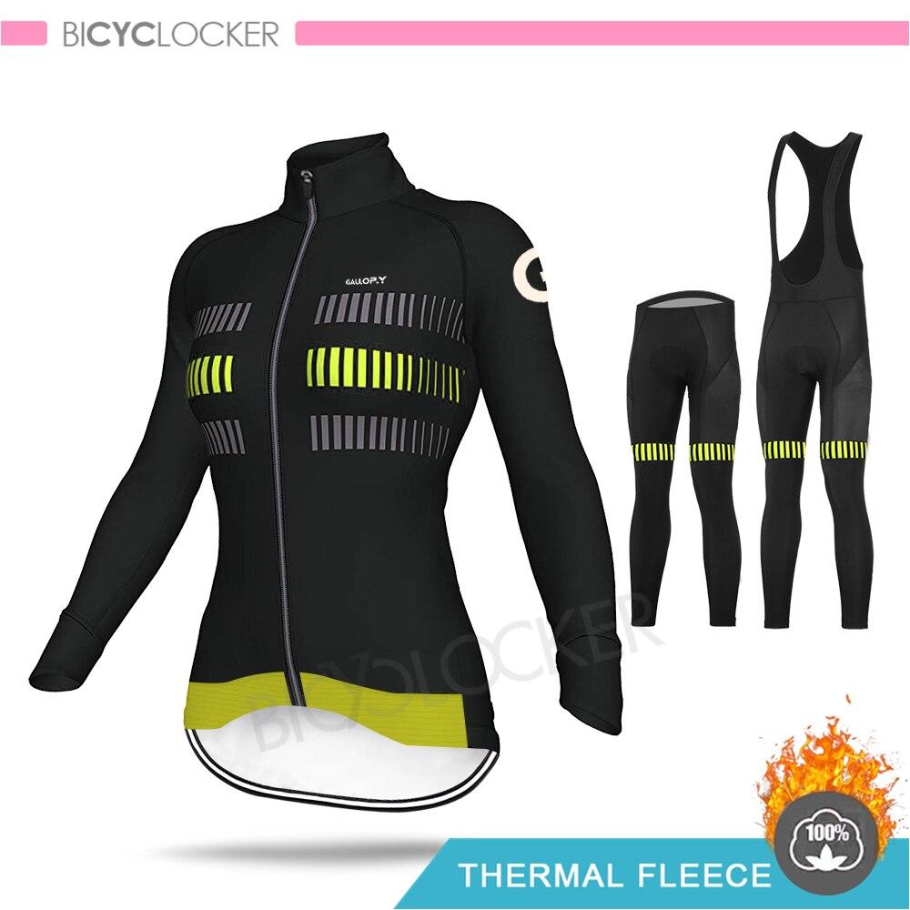 Equipo de ciclismo profesional para mujer, KIT de Jersey de manga larga, forro polar térmico, ropa de abrigo sin informar para MTB, camisas de ciclismo de carretera para mujer