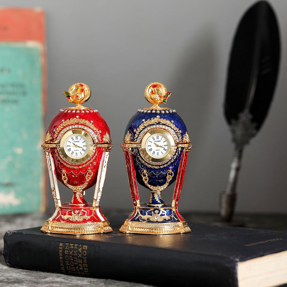 QIFU, recién llegado, huevo de gallo ruso con reloj para Reloj de escritorio decoración del hogar