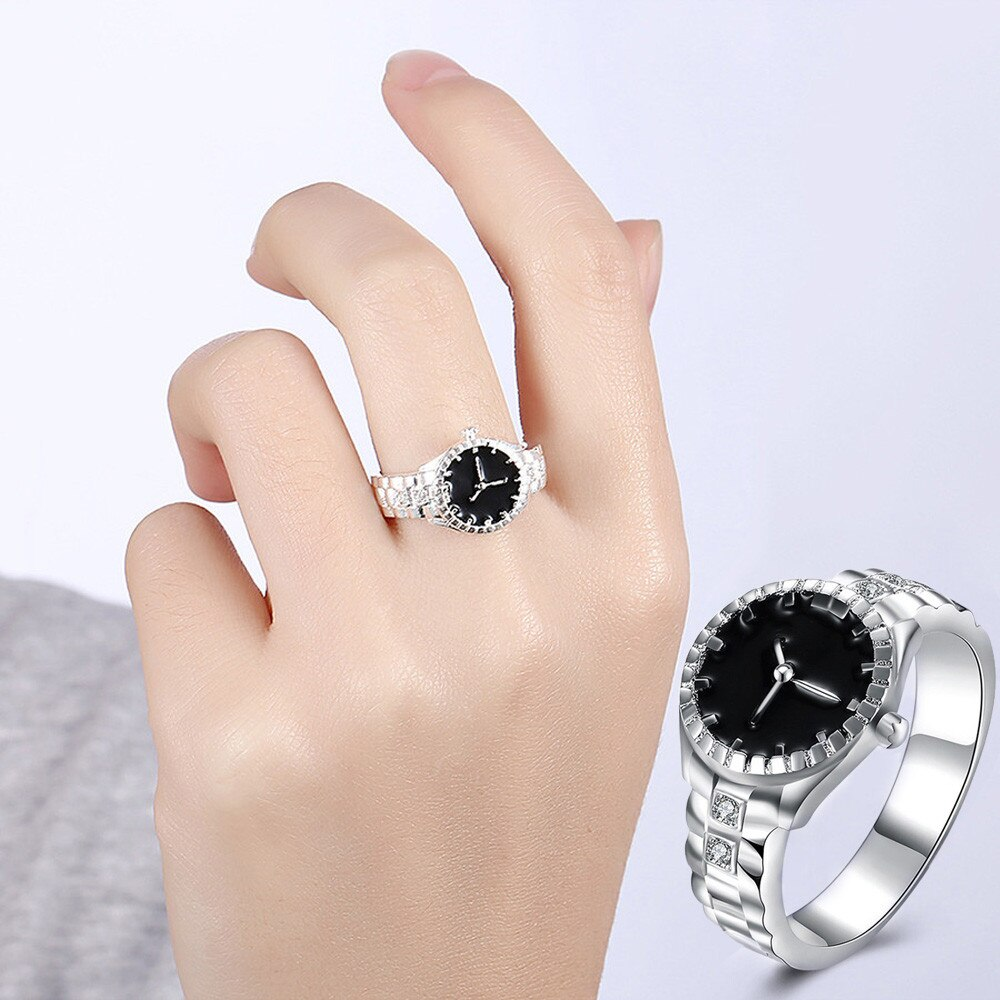 Korean Style Creative Steel Cool Elastic Analog Ring With Quartz Watch Female Ring Fashion Classic F
