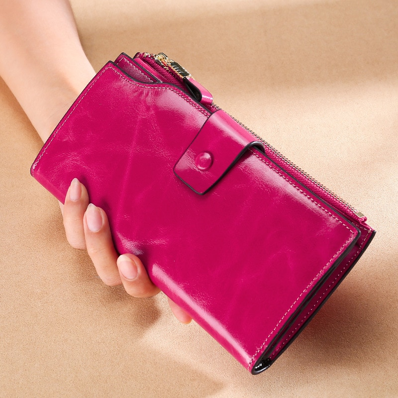 Pu soft leather anti-theft brush women's purse long oil wax leather mobile phone bag Grab Bag Leather Vintage Wallet Bag
