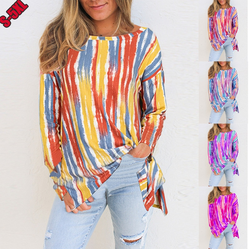 Camiseta con estampado a rayas para Mujer, camisa de manga larga de...