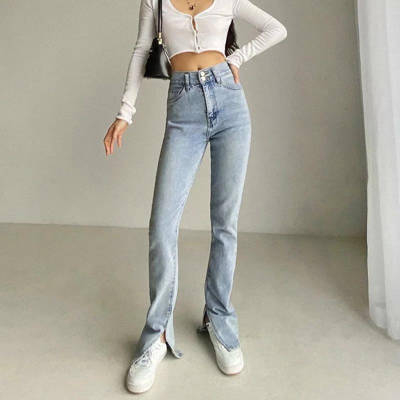 جديد 2021 الجينز امرأة عالية الخصر الجينز الشارع الشهير الضوء الأزرق سراويل جينز خمر انقسام مضيئة السراويل النساء الكورية