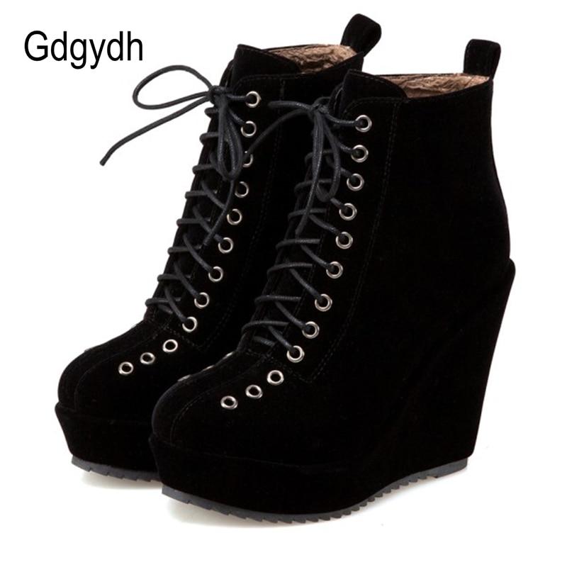 Gdgydh-حذاء نسائي بنعل سميك من جلد الغزال ، حذاء نسائي بنعل سميك من جلد الغزال ، نمط بانك ، قوطي ، أسود ، عالي الجودة ، لفصل الشتاء