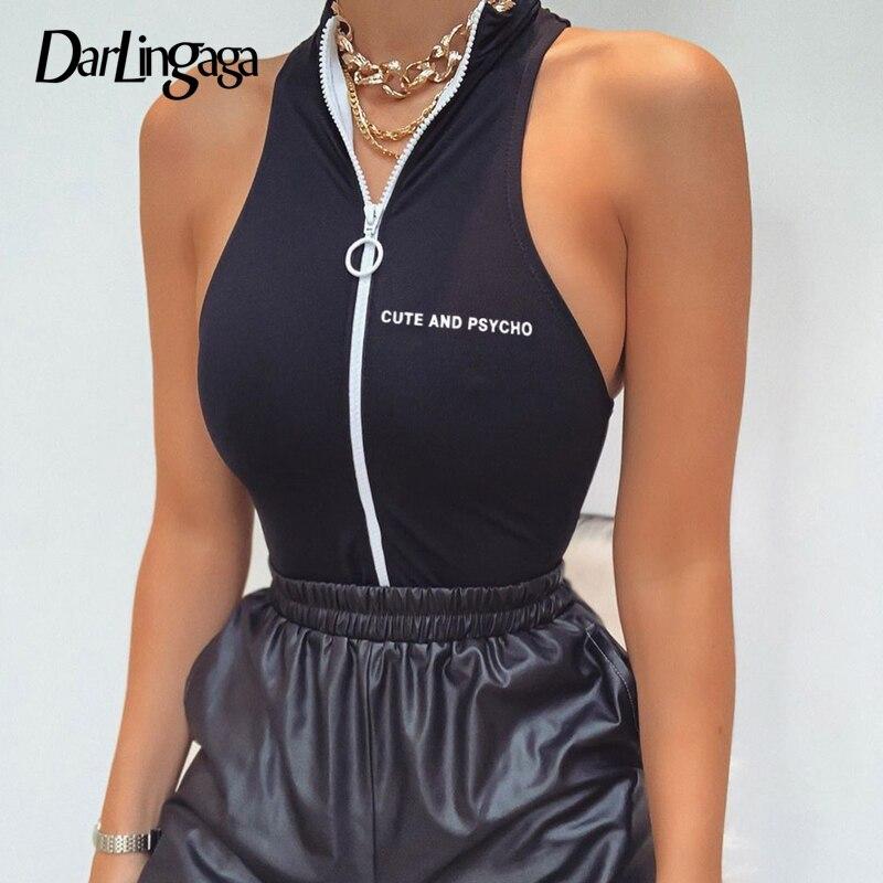 Darlingaga Streetwear Zipper Skinny Tank Bodi mujer traje de cuello cuerpo alto letra Bodycon estampado mono 2020 verano Bodysuits