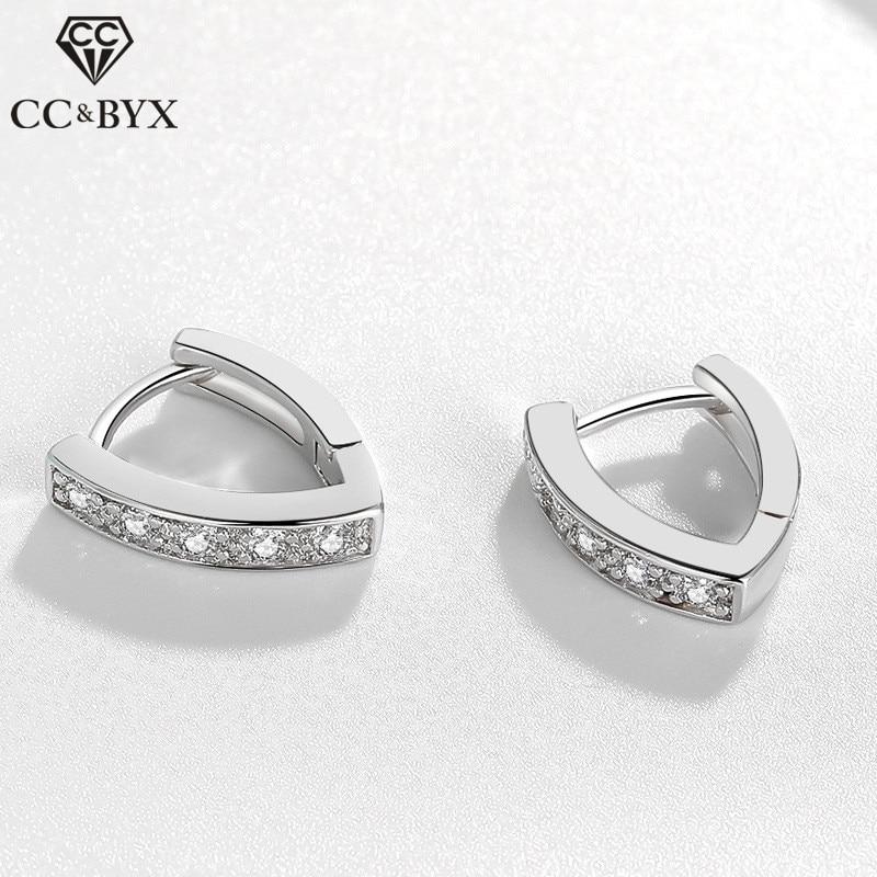 925 clipe de prata brincos para as mulheres simples zircônia cúbica forma v criativo casamento nupcial brincos simétricos brincos cce644