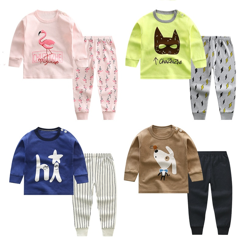 2018 new spring children girls clothing sets mouse early autumn clothes bow tops t shirt leggings pants baby kids 2 pcs suit New 2020 Kids Boys Cotton Pajama Sets Cartoon Print O-Neck Cute T-Shirt Tops with Pants Baby Girls Children Autumn Clothing Sets