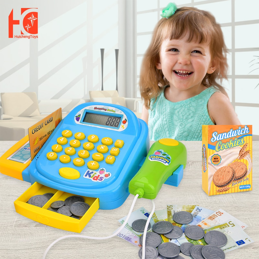 Cash Register Set Pretend Toys Supermarket Cashier Toys Kids For Girl Gift Brithday Kids Shopping Cart Toy connect the pos machine before the use of cash used in supermarket restaurant cashier ek330