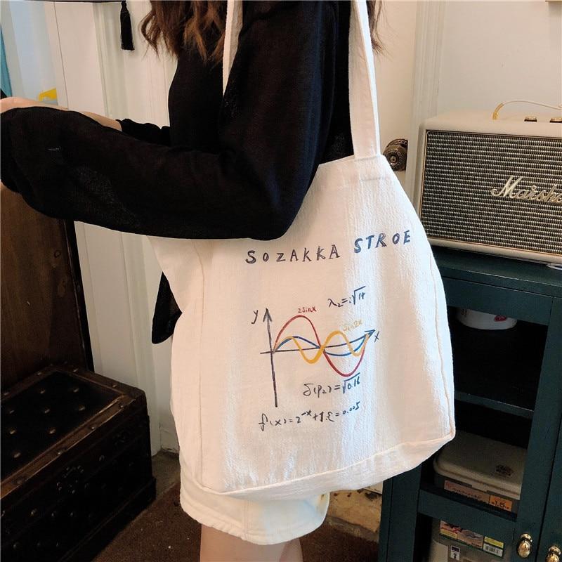 Women Canvas Shoulder Bag Geometric coordinates illustration Shopping Bags Cotton Cloth Fabric Handbags Tote Books Bag For Girls