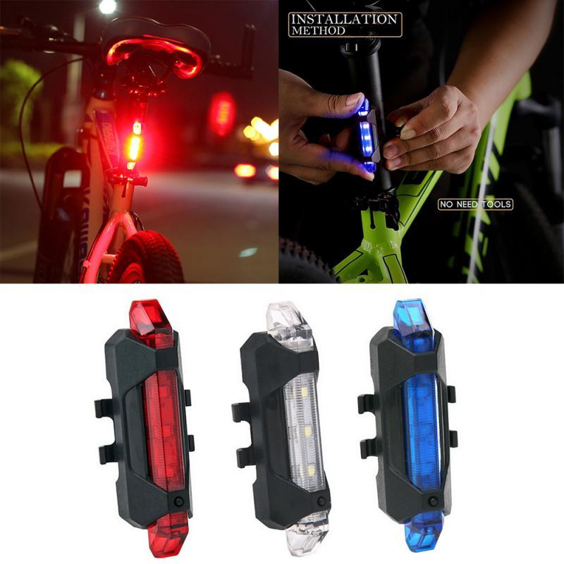 Luz da bicicleta 5 Recarregável USB LEVOU Mountain Bike Luz Traseira do Farolim Traseiro Aviso Equitação Noite Luz Da Bicicleta Acessórios Da Bicicleta