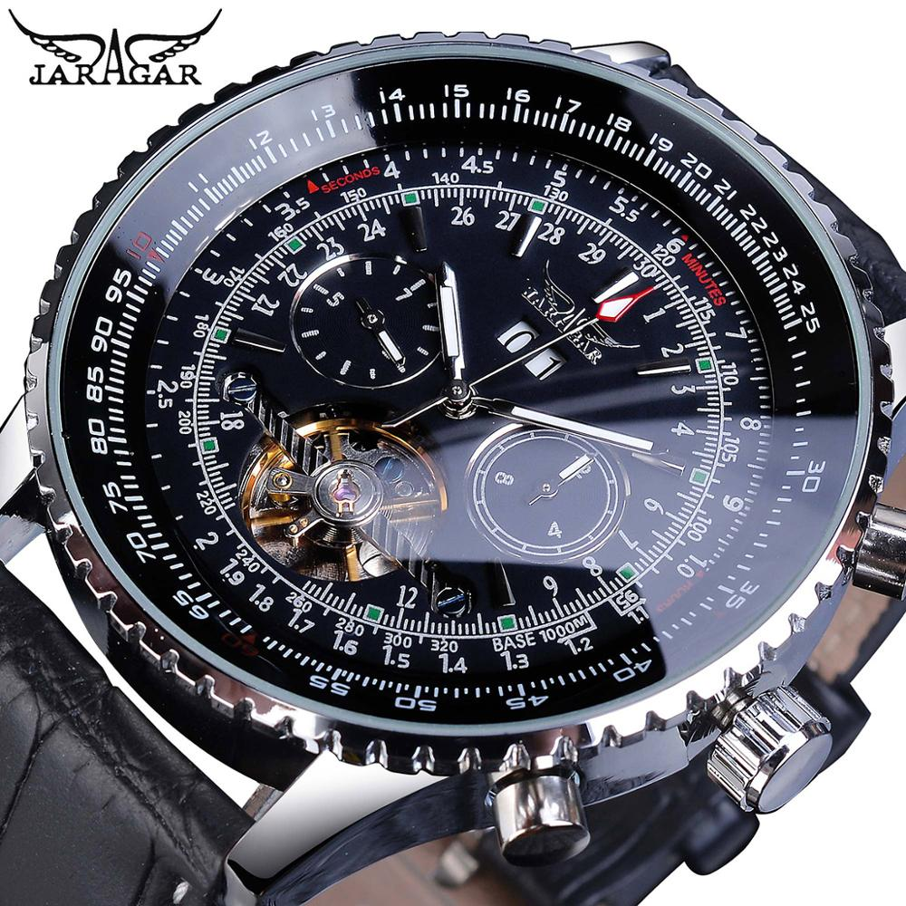 Jaragar Pilot Design Skeleton Automatic Watch Men Tourbillon Date Multifunction Mechanical Genuine Leather Business Watches Gift ailang original design watch automatic tourbillon wrist watches men montre homme mechanical leather pilot diver skeleton 2019