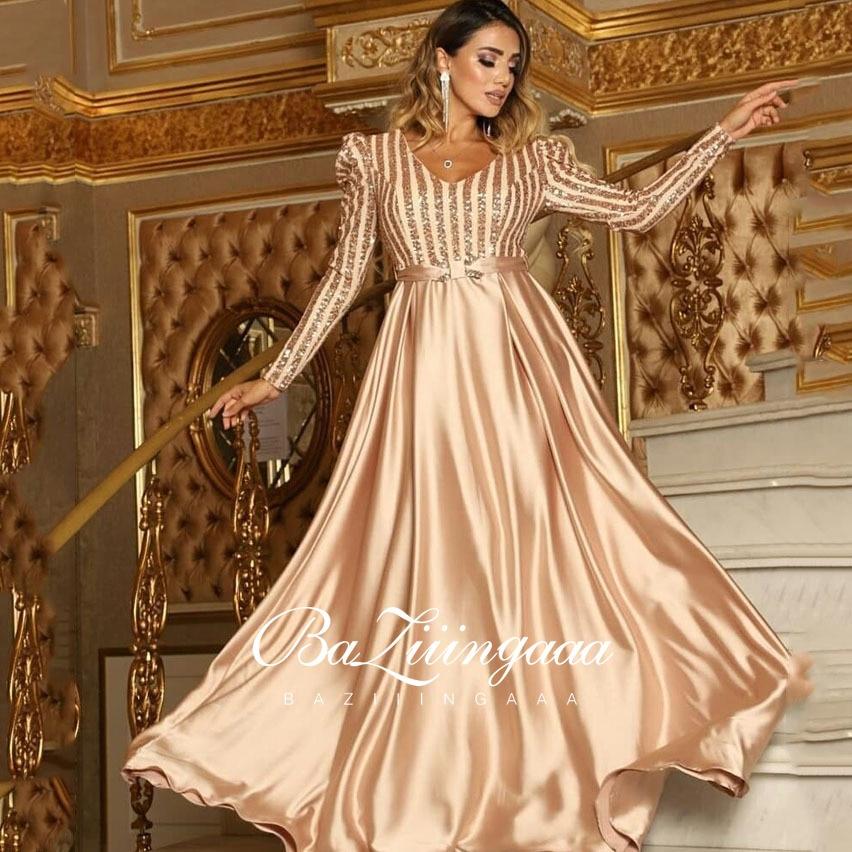 فساتين سهرة فاخرة طويلة أنيقة امرأة ثوب مسائي حجم كبير الخامس الرقبة حفلة الترتر BAZIIINGAAA 2021 الزفاف
