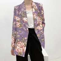 spring autumn 2021 vintage flowers printing blazer women purple double breasted casual mid length long sleeve suit jacket female