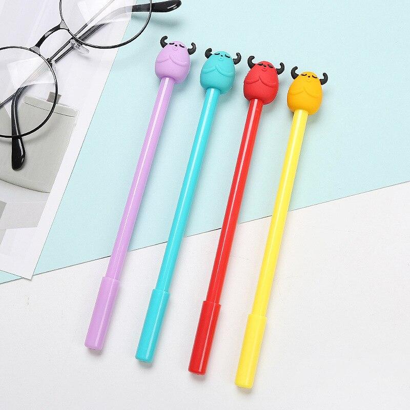 50 Uds creativa silicona Bullhead bolígrafo de gel con dibujos lindo aprendizaje papelería suministros de oficina a base de agua pluma de firma