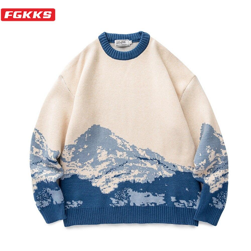 سترات صوفية من FGKKS للرجال موديل 2021 بلوفر من جبل الثلج بلوفر محبوك سترات هيب هوب ملابس الشارع الشهير Harajuku سترات غير رسمية