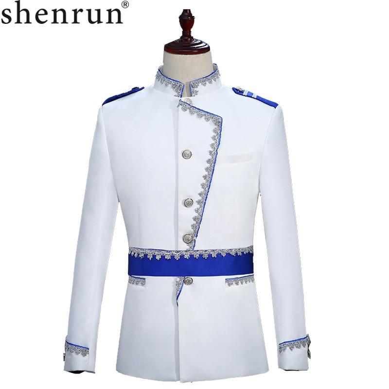 Shenrun Men Blazer Slim Fit Military Style Uniform Court Prince White Fashion Suit Jacket Wedding Groom Skinny Stage Costume