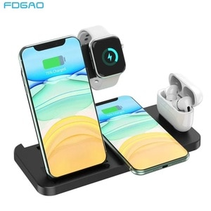 4 in 1 Qi Wireless Charger Stand For Apple Watch 6 5 4 3 2 Airpods Pro 15W Fast Charging Dock Station For iPhone 12 11 XR XS X 8
