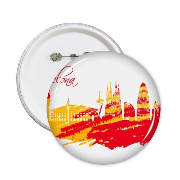 Silueta de ciudad pintada a mano, alfileres redondos de Arte de Barcelona...