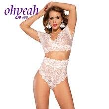 Ohyeahlover Sexy Girls Full Lace Bra Set 5XL 4 Colors Women High Waist Lingerie Transparent Flower Pattern Underwear Set RM80760