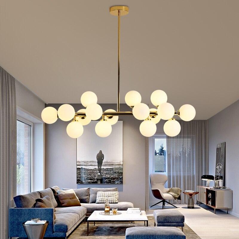 Современные светодиодный ные люстры, стеклянные подвесные люстры для гостиной, столовой, кухни, подвесные светильники золотого/черного цве...
