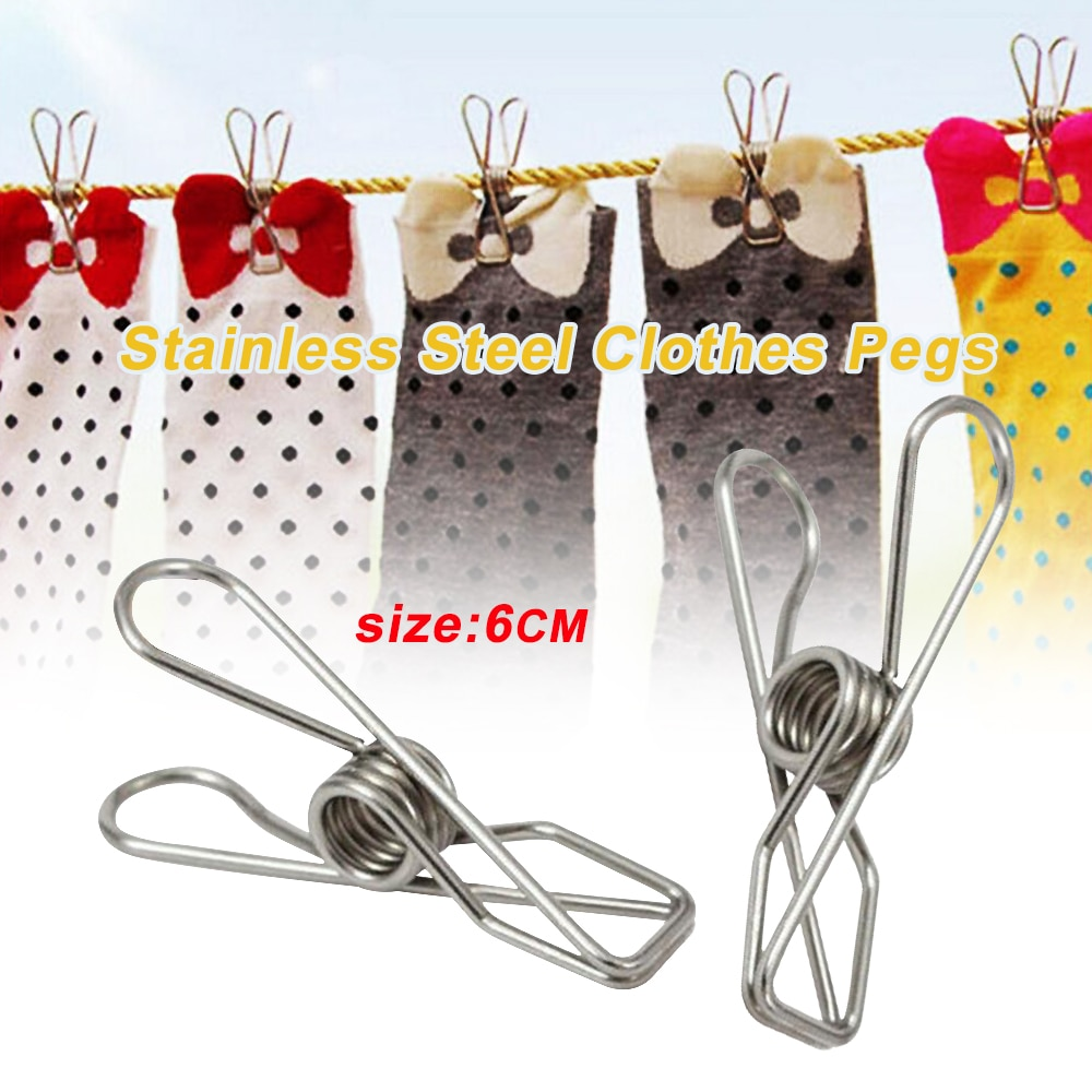 1pcs Stainless Steel Clothes Pegs High Quality Hanging Clips Pin Laundry Windproof Clamp Clothespins 3