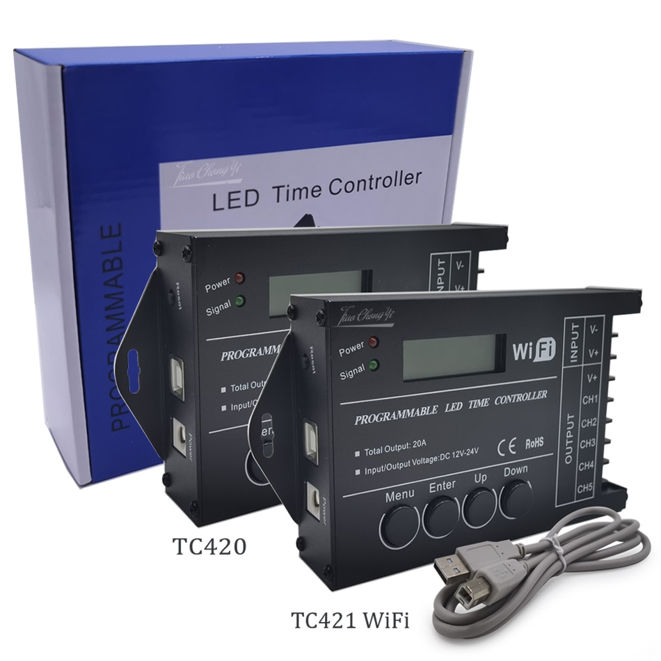 TC420 TC421 للبرمجة 5CH RGB led قطاع ضوء الوقت واي فاي تحكم باهتة DC12-24V المستخدمة في أحواض السمك ، خزان الأسماك ، تنمو النبات