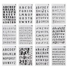12 adet harfler numarası alfabe şablonlar şablon plastik planlayıcısı dizüstü günlüğü karalama defteri el sanatları projesi DIY çizim boyama