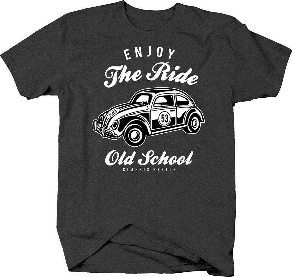 Disfruta del Paseo de la vieja escuela clásico Beetle Vintage coche camiseta de crucero camiseta Cool Casual de algodón