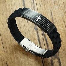 Bracelet en Silicone noir gravé pour la prière du seigneur chrétien