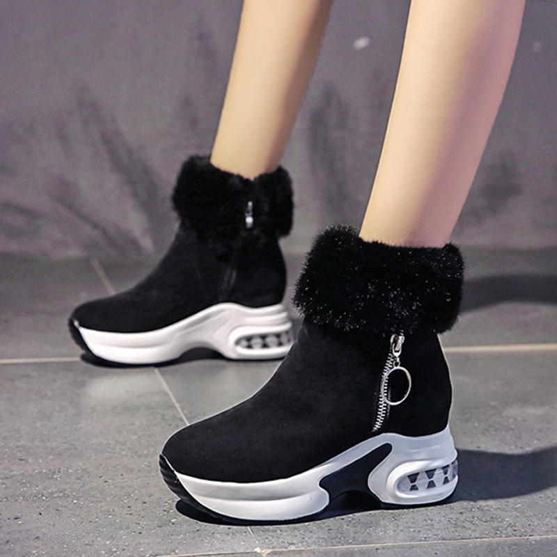 Women Ankle Boot Warm Plush Winter Shoes For Woman Wedges Boots High Heels Ladies Leather Snow