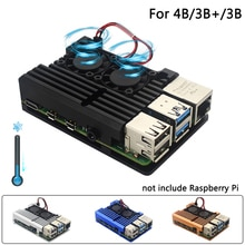 Raspberry Pi 4 Model B Dual Fans CNC Aluminum Alloy Case Metal 4 Color Armor Shell with Heat Sinks for Raspberry Pi 4B/3B+/3B
