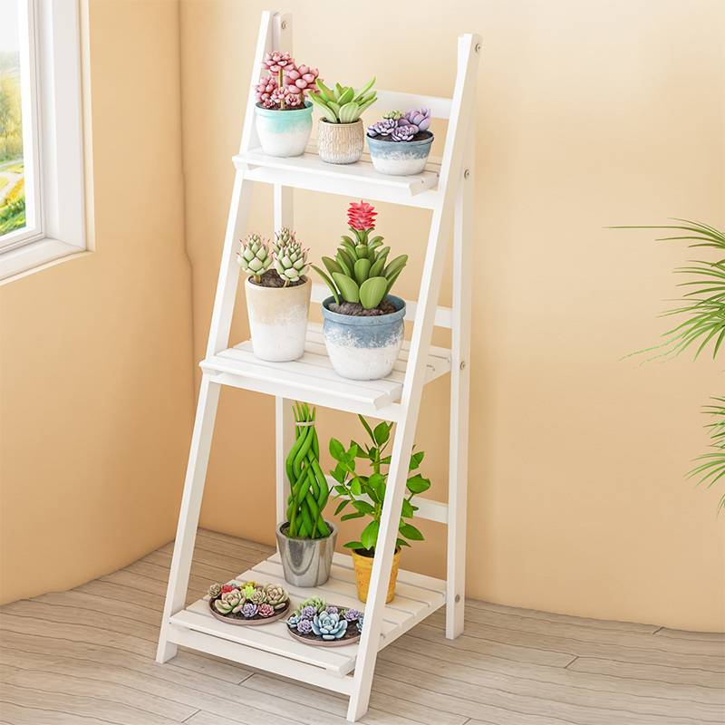 3-Tier Home Office Ladder Shelf Bookshelf Plants Display Stand Storage Shelves Decor Garden Balcony Flower Pot Storage Rack