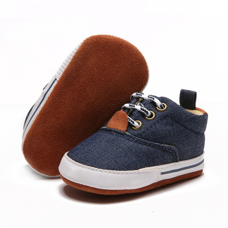 infant toddler baby boy prewalker laced canvas shoes soft bottom toddler shoes fashion boy shoes for 0-18M