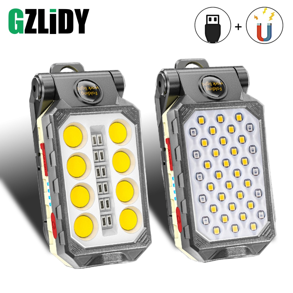 USB Rechargeable COB Work Light Portable LED Flashlight Adjustable Waterproof Camping Lantern Magnet Design with Power Display