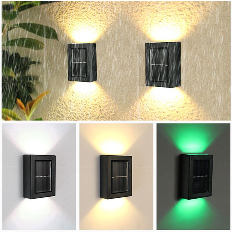 Solar Wall Light Outdoor Waterproof IP65 Porch Garden Decorative LED Wall Lamp Lighting Up And Down Street Lamps Home Stair Lamp