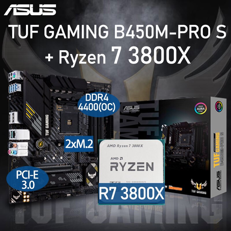 ASUS TUF GAMING B450M-PRO S Motherboard Set + AMD Kit Ryzen R7 3800X DDR4 128GB PCI-E 3.0 M.2 B450 Placa-mãe AM4 Desktop B450