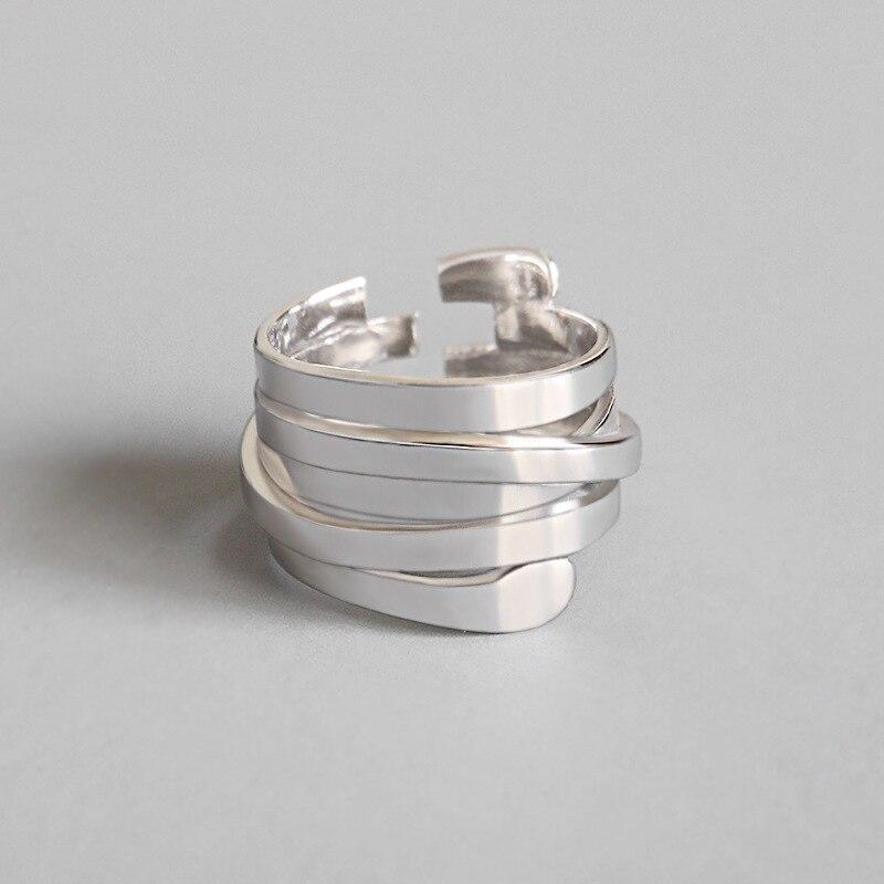 Mulher única abertura ajustável 925 prata esterlina multi-camada dedo anel de noivado jóias bagues pour femme jz489