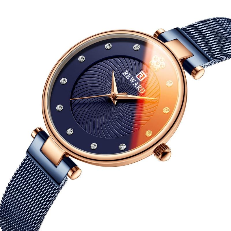 REWARD Luxury Ultra-thin Womens Watches Fashion Color Glass Analog Quartz Watch Women Blue Mesh Casual Waterproof Wrist Watch enlarge