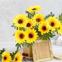 Bouquet de tournesol artificiel  decoration de mariage pour la maison  le bureau  fleur artificielle