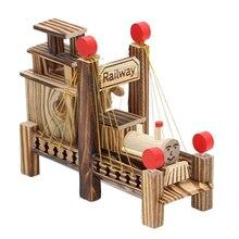 Wooden Music Box Train & Bridge Model Retro Kids Toy For Living Room Home Decor