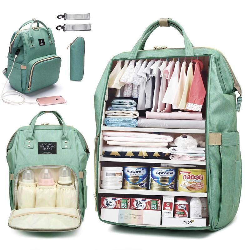 Bolsa de pañales de mamá de gran capacidad, bolsa de maternidad resistente al agua sólida, bolsas de pañales de bebé con interfaz USB, bolsa de maternidad para cochecito