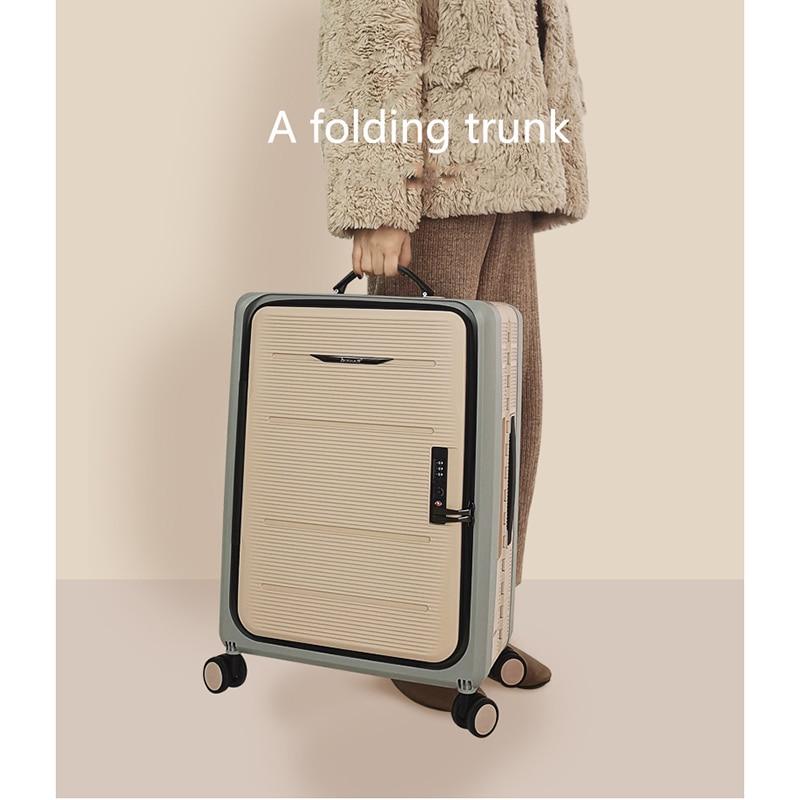 حقيبة سفر اليد عجلة عالمية 20 بوصة صغيرة Valise الأمتعة مجموعة على عجلات للطي حقيبة سكوتر حقيبة تروللي بعجلات جديد 2021