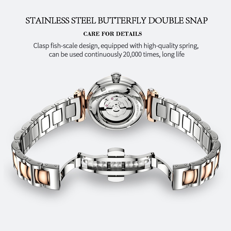 OUPINKE Luxury Automatic Watch Women waterproof Bracelet Watches Set Dress Ladies Mechanical Wristwatches relojes para mujer enlarge