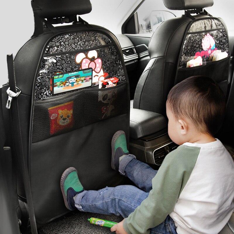 Новинка, чехол для автомобильного сиденья из искусственной кожи, защитная задняя часть сиденья для детей, карманный износостойкий коврик с ...