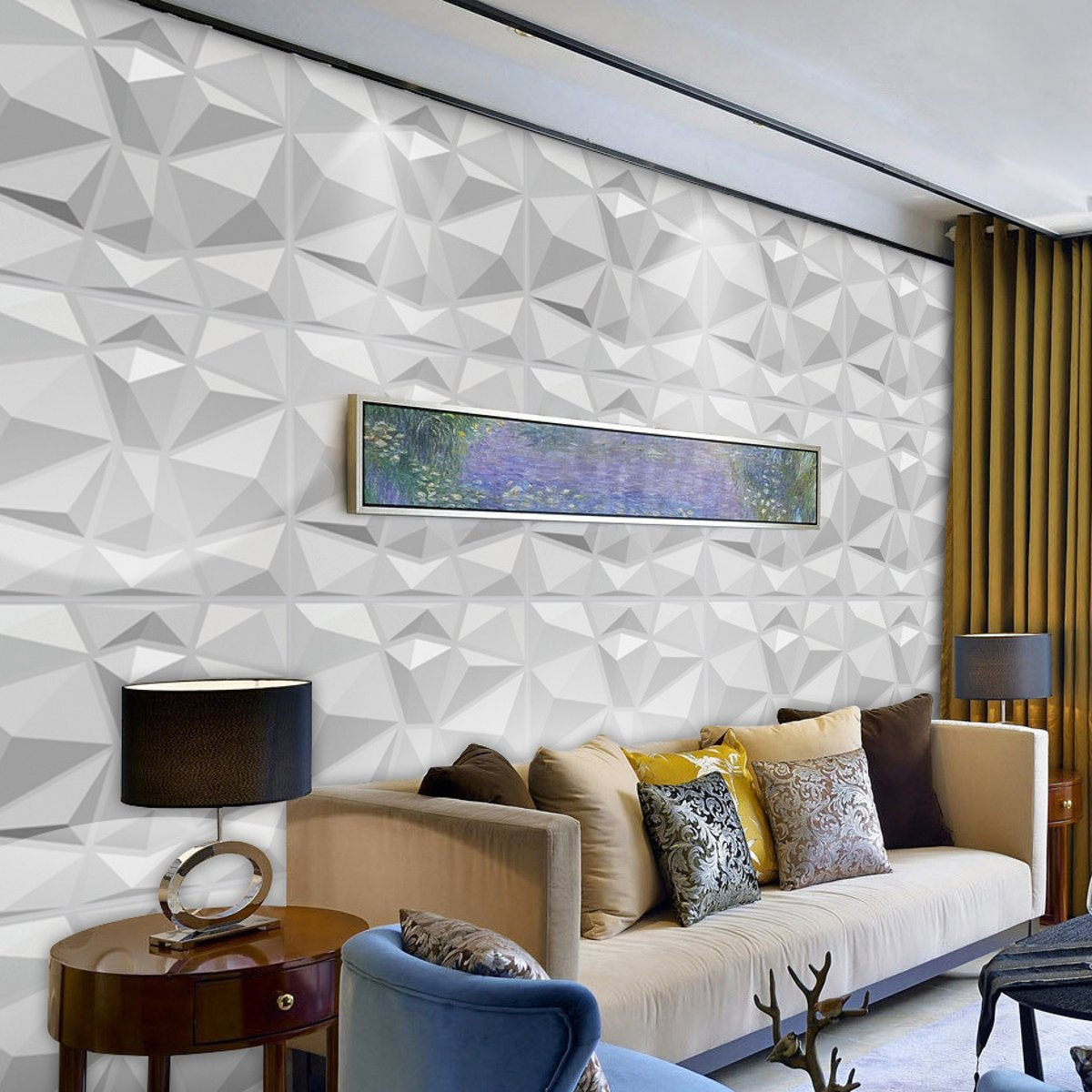 12 Pcs Decorative 3D Wall Panels in Diamond Design Matt White 30x30cm Wallpaper Mural Tile-Panel-Mold