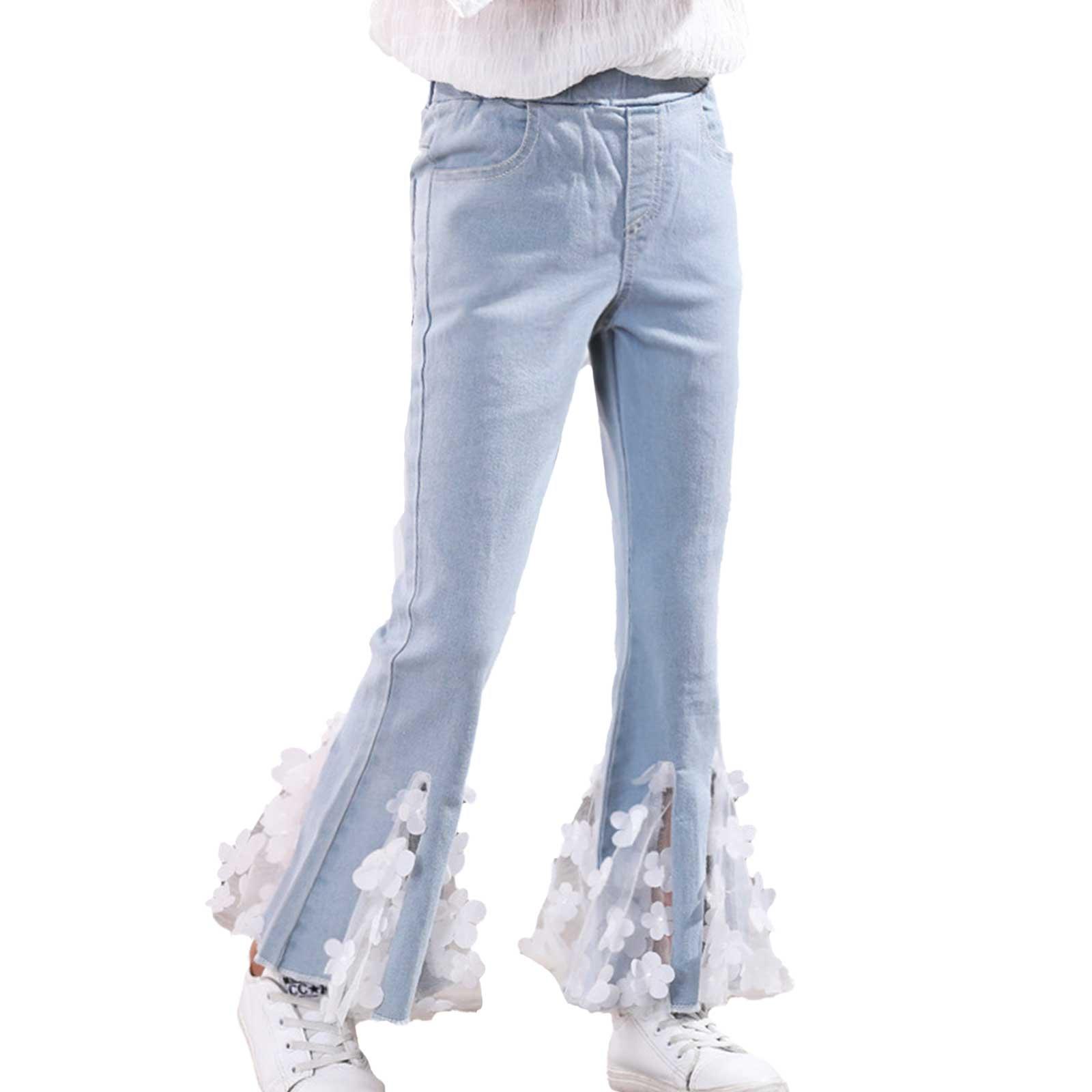 Женские расклешенные джинсы, новинка 2021, детские брюки, весна-осень, модные летние брюки с цветами, Детская верхняя одежда, брюки, молодежные...
