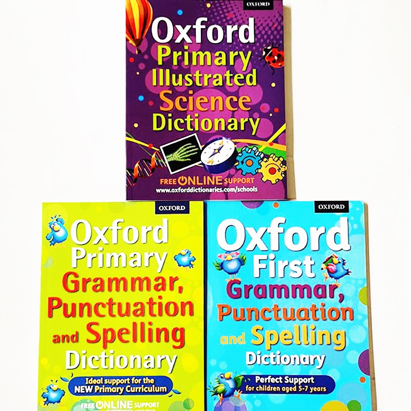 3 Books/Set Oxford First Grammar Punctuation and Spelling /Primary Illustrated Dictionary easy to understand English Books grammar and punctuation activity cards