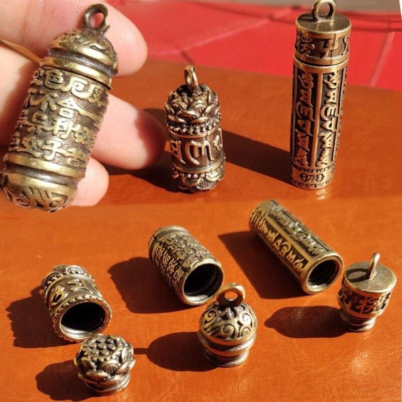 Полый латунный подвеска Будды в виде бутылки Sutra, цилиндр, брелок, ожерелье, ювелирные изделия ручной работы, винтажное цветочное оформление