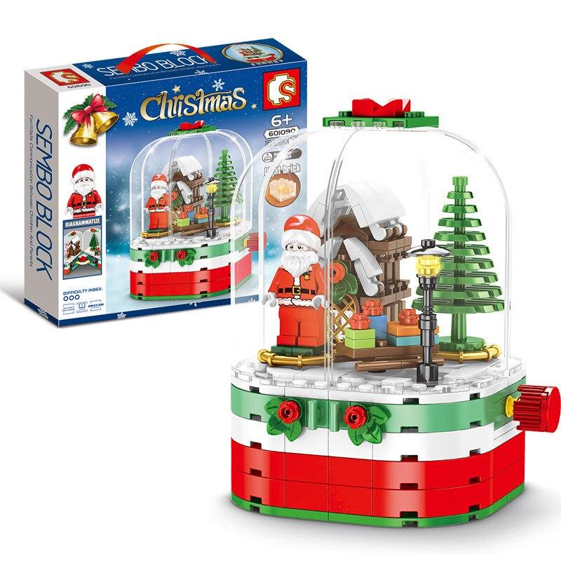 Juegos de Navidad de ciudad compatibles con Sembo, casa de pueblo de invierno giratoria Santa, bloques de caja de cristal, juguetes de construcción, regalo de Navidad chico