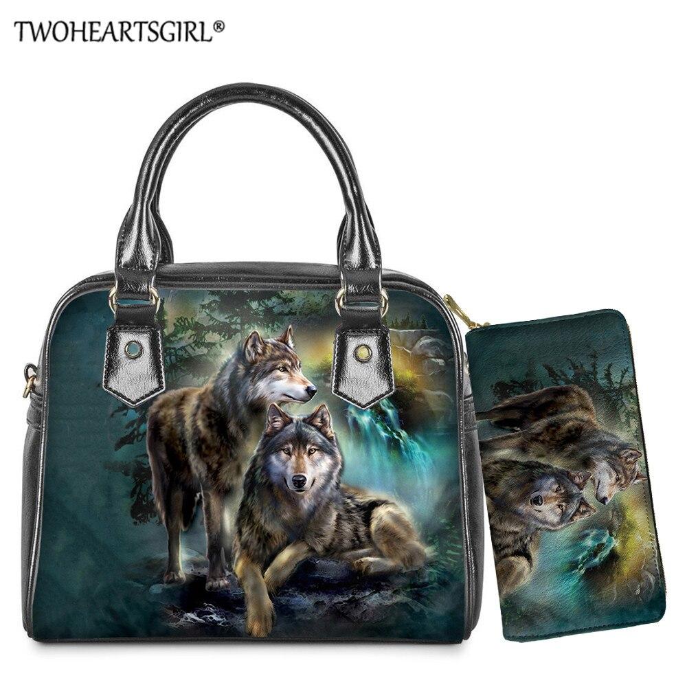 Bolsa de Mão das Senhoras Tote com Bolsa Twoheartsgirl Pces Noite Lobo Imprime Ombro – Mensageiro Diário Superior-alça Bolsa Longa 2